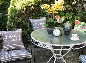 (SOLD) Gorgeous Vintage Outdoor Wrought Iron Patio Set with Beautiful Floral (Rose) Design, Glass Top in Black and White Theme!!