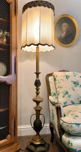 (SOLD) Gorgeous 1940s Victorian Decorative Floor Lamp with Beautiful Details!! All Original, Heavy Duty Brass and Excellent Condition!!