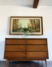 Load image into Gallery viewer, (SOLD) Simply Beautiful 2PC Danish Mid Century Modern 6Drawer Dresser/Media/Entryway/Console/Buffet and matching Mirrror in Great Condition. Perfect MCM for Minimalist and Wood Lover!!!