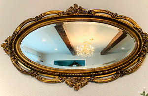 (SOLD) Stunner Large Vintage French-Victorian Decorative Mirror with Gorgeous Details and Excellent Condition!!