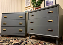 Load image into Gallery viewer, (SOLD) Beautiful Newly ReDesigned 2PC MID CENTURY MODERN DANISH Large Nightstands-Dresser-Chest-Coffee Bar-Snack Table in Superb Condition!!!