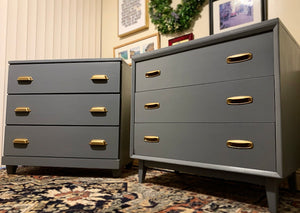 (SOLD) Beautiful Newly ReDesigned 2PC MID CENTURY MODERN DANISH Large Nightstands-Dresser-Chest-Coffee Bar-Snack Table in Superb Condition!!!
