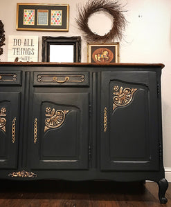 (SOLD) STUNNING Restoration Hardware inspired Vintage French Country Buffet/Media/Dresser/Entryway with Beautiful Details and Hardware!! 78X39X21