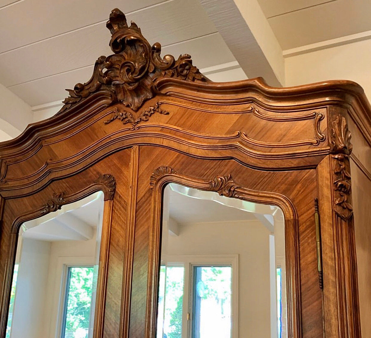 (SOLD) STUNNING Antique French Louis XV Armoire with Gorgeous Details!! 90X47X17