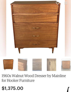(SOLD) GORGEOUS Vintage High-End Mainline by Hooker Mid-Century Bedroom Set!! They are BEAUTIES!!!