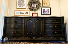 Load image into Gallery viewer, (SOLD) Newly ReDesigned High-End Black STUNNER Restoration Hardware inspired XL French Country Modern Dresser/Buffet/Entryway/Media/Credenza with Gorgeous Details and Original Hardware.!!
