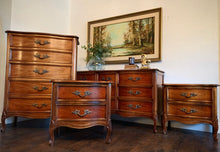 Load image into Gallery viewer, (SOLD) STUNNING 4PC High-End Dixie French Country Modern Queen Anne Style Dresser, Chest of Drawers and 2 Nightstands. They are Perfect Must Have French Modern Beauties!!