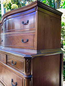 (SOLD) STUNNING 1940s French-Victorian Chest of Drawers /Dresser/Entryway with Gorgeous Details and Hardware!!! 40W 53H 20D