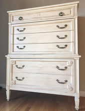 Load image into Gallery viewer, (SOLD) Gorgeous High-End Bassett Bedroom Dresser Set (Dresser, Tall Chest and 2 Nighstands) with Beautiful Details and Hardware!!