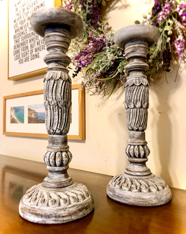 (SOLD) Gorgeous French-Rustic-Distressed Pillar Candle Holders that will fit beautifully w/ any Decor! 15X7