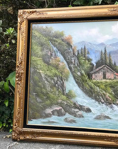 (SOLD) Gorgeous Vintage Mountain Waterfall Oil Painting in Stunning French Wood Frame and Excellent Condition!! 52X32