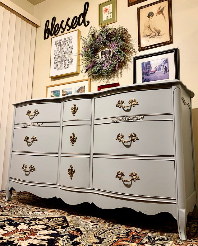 (SOLD) GORGEOUS and Newly ReDesigned Vintage High-End Bassett French-Victorian Dresser/Entryway/Media/Console/Buffet with Beautiful Details and Hardware!!