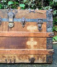 Load image into Gallery viewer, (SOLD) Gorgeous 1910s Antique Trunk. This piece can serve as Coffee Table, Bed-End Table, Storage or Home Decor!! BEAUTY and HISTORY indeed!