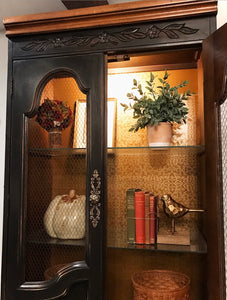 (SOLD) Gorgeous Vintage Restorage Hardware inspired Lighted French Country-Farmhouse Display Cabinet/Storage/China!!