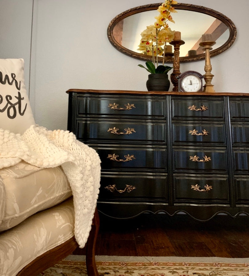 (SOLD) Gorgeous Restoration Hardware inspired French Country Double Serpentine 12Drawer Dresser. Perfect Modernized French Statement Piece!!