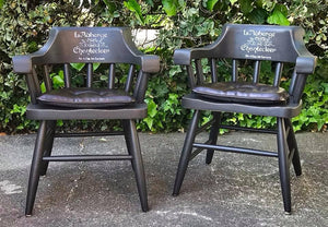 (SOLD) GORGEOUS Vintage 1950s Decorative Indoor/Outdoor Captain Chairs with French Design!!! 25W 30H