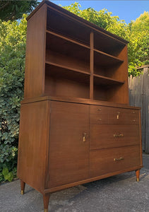 (SOLD) Beautiful MID CENTURY MODERN Danish 2PC Versatile Walnut Display/Hutch Cabinet/Bookshelf with Sliding Glass Doors!!! Solid Beauty Perfect for MCM and Wood Lover!!