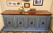 Load image into Gallery viewer, (SOLD) Gorgeous Vintage High-End American of Martinsville Versatile Buffet/Sideboard/Credenza/Entryway/Dreser/Media with Beautiful Details and Hardware!! 72X32X19