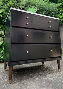 (SOLD) GORGEOUS Mid Century Modern Coffe-Snack Bar Table/Dresser/Nightstand/Side-End Table in Black Beauty!!