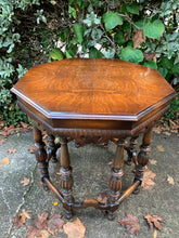 Load image into Gallery viewer, (SOLD) Gorgeous 1940s Marsman Burl Wood Top Jacobean Accent Table with Beautiful Details and Solid!! Perfect Piece for Vintage and Wood Lover!!