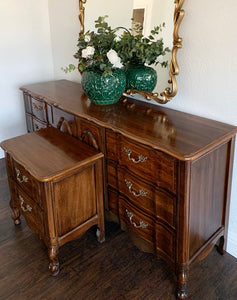 (SOLD) Gorgeous 2PC Vintage French Country Dresser and Nightstand in Superb Condition. Perfect Versatile Pieces for Vintage and Wood Lover!!