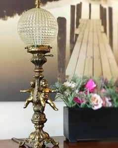 (SOLD) Gorgeous and Elegant Antique Cherub Glass Globe Lamp with Beutiful Ornate Brass and Heavy Duty!! 24H 7W