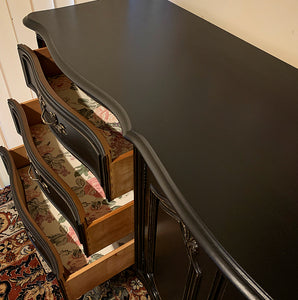 (SOLD) Newly ReDesigned High-End Black STUNNER Restoration Hardware inspired XL French Country Modern Dresser/Buffet/Entryway/Media/Credenza with Gorgeous Details and Original Hardware.!!