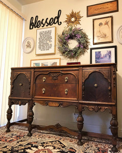 (SOLD) STUNNING 1940s Jacobean Buffet/Entryway/Dresser/Media with Gorgeous Hardware and Details!! Perfect BEAUTY!! 60X38X22