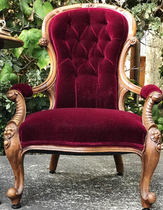 (SOLD) Gorgeous Vintage Victorian Red Wine Velvet Accent Chair with Beautiful Details and Antique Foldable Side Table with Inlay Design!!!