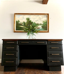 (SOLD) Black STUNNER Restoration  Hardware inspired Large Desk  in Superb Condition. This is a STATEMENT Desk Perfect for MCM and Wood Lover!!!