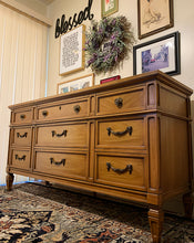 Load image into Gallery viewer, (SOLD) Gorgeous 3PC Modern French Regency 9Drawer Dresser and 2 Nightstands with Beautiful Design and Hardware. Perfect for Modern and Lover!!