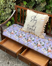 Load image into Gallery viewer, (SOLD) GORGEOUS Newly Upholstered in French Lilac Floral Fabric Entryway Bench-Bed-End with Storage Drawers in Superb Condition!!