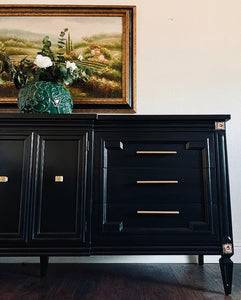 (SOLD) Gorgeous Restoration Hardware inspired Modern French Regency Dresser-Media-Entryway-Buffet in BLACK!! Perfect Newly ReDesigned High-End BEAUTY made by Thomasville!!!