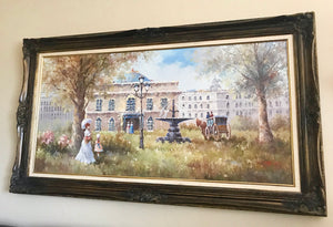 (SOLD) Stunning Vintage French Country Oil Painting with Gorgeous Details and Excellent Condition!! 57W 33H 2D