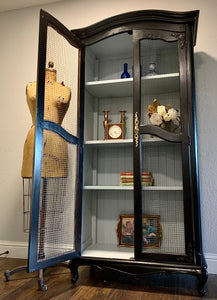 (SOLD) Gorgeous Modern French Country- Farmhouse inspired Display Cabinet with Beautiful Design and Hardware.