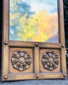 (SOLD) Gorgeous Vintage Decorative Wall Mirror with Beautiful Hand-Carved Floral Design. Perfect As-Is Antique Looking Decorative Mirror!!