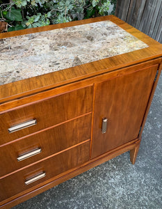 (SOLD) Simply Beautiful and High-End Mid Century Modern Marble Top Coffee-Snack Bar Table/Buffet/Media/Credenza/Entryway!!