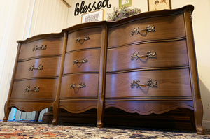 (SOLD) Gorgeous Vintage 4PC High-End Bassett French Country Bedroom Set (Dresser, Mirror and 2 Nighstands)