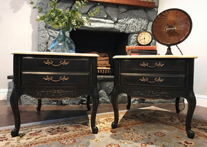 (SOLD) Gorgeous Restoration Hardware inspired Vintage French Country End/Side Tables/Nighstands with Beautiful Details and Hardware!!!