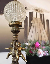 Load image into Gallery viewer, (SOLD) Gorgeous and Elegant Antique Cherub Glass Globe Lamp with Beutiful Ornate Brass and Heavy Duty!! 24H 7W