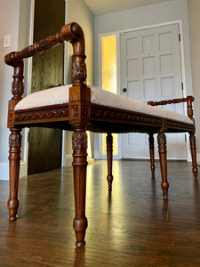 (SOLD) STUNNING 1940s French-Victorian Newly Upholstered Decorative Entryway Bench or Bed End Piece! Total French-Victorian Vintage BEAUTY indeed!!