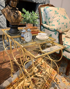 SOLD) Gorgeous 1950s French-Rustic Metal and Glass Nesting Side/End/Decorative Tables in Excellent Condiiton!!
