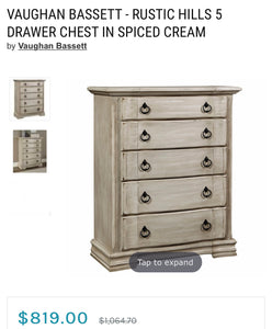 (SOLD) Gorgeous High-End Bassett Bedroom Dresser Set (Dresser, Tall Chest and 2 Nighstands) with Beautiful Details and Hardware!!