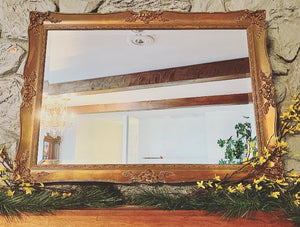 (SOLD) Gorgeous High-End Vintage J.A. Olson French Country Bevelled Accent Mirror in Rustic Dark Gold Wood Frame with Beautiful Details and Excellent Condition!!!
