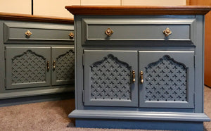 (SOLD) Diamond Details and Beautiful Hardware!!! Perfect Modernized Bedroom Tables for your Hom