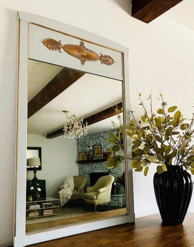 Simply Beautiful Newley ReDesigned Vintage French Tremeau inspired Decorative Mirror in Powder Blue-Gray Color and Deep Gold Details in Superb Condition!!!