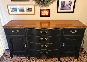 (SOLD) Gorgeous Vintage French Country Serpentine Buffet/Sideboard/Media/Dresser/Entryway!! 65X33X20