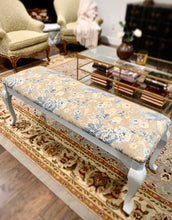 Load image into Gallery viewer, (SOLD) Gorgeous NEWLY UPHOLSTERED FRENCH COUNTRY MODERN Bed-End Bench-Coffee-Book Table/Entryway Chair in Powder Blue and French Floral Fabric!!