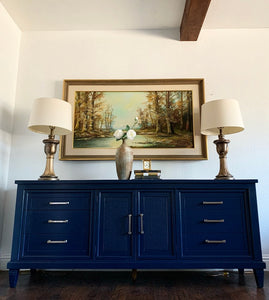(SOLD) Beautiful Newly ReDesigned High-End Century Brand 3PC MID CENTURY MODERN Dresser and 2 Nightstands in Navy Blue!!!  BEAUTIES!!