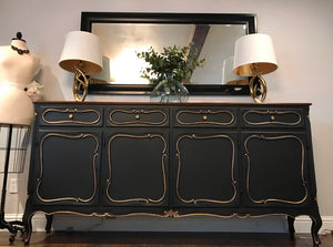 (SOLD) Stunning Extra Large Vintage French Country Credenza/Buffet/Media/Dresser/Entryway with Gorgeous Details and Hardware!!